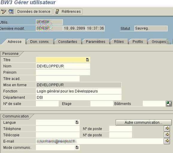 Transaction SU01 : Adresse email pour user SAP