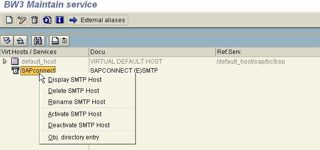Transaction SICF - Activation SAPConnect