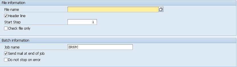 Ecran initial permettant de charger le fichier